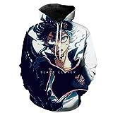 Sudadera con capucha para hombre, estampado 3D, diseño de trébol negro, con capucha, chaqueta de anime japonés, manga larga, disfraz de cosplay