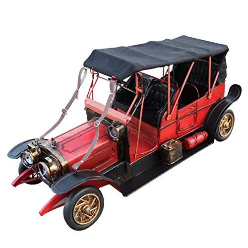 MxZas Handgemachtes extra großes Retro-Zinn-Automodell-klassisches Auto-Modell-Home-Dekoration Vintage Fahrzeug Wohnkultur (Color : Red, Size : 38x16x13cm)