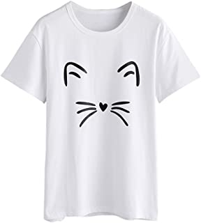 OrchidAmor Women Fashion Casual Short Sleeve O-Neck Cat Printed Causal Blouse Tops T-Shirt