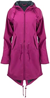Misaky Womens Raincoat Solid Rain Jacket Outdoor Hoodie Waterproof Long Coat Overcoat Windproof