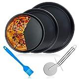 ceuao teglia per pizza, piatti pizza set da 5, teglie antiaderenti da forno, teglie per pizza per crostate, acciaio al carbonio, ∅ 26cm, ∅ 23 cm, ∅ 21 cm
