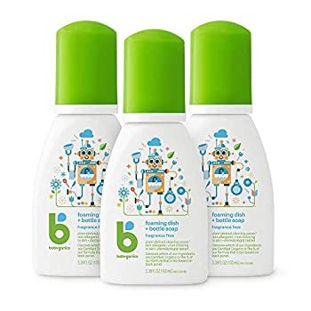 Babyganics Foaming Dish & Bottle Soap for Travel Fragrance Free Packaging May Vary 3.38 Fl Oz  Pack of 3