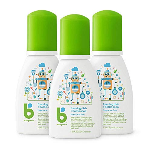 Babyganics Foaming Dish Soap for Travel, Fragrance Free, 3.38oz, 3 Pack, Packaging May Vary
