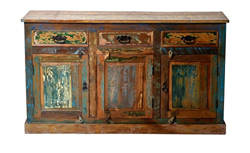 Sit Möbel Riverboat 9103-98 Sideboard, 3 Türen, 3 Schubladen, recyceltes Altholz, bunt lackiert, 140 x 40 x 80 cm