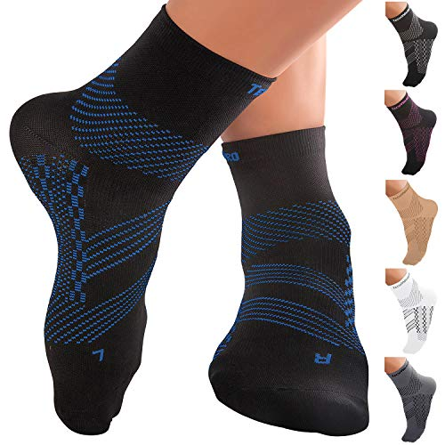 TechWare Pro Plantar Fasciitis Support Socks - Compression Ankle Socks Women & Men Compression Foot Sleeve for Flat Feet Arch Support (Blue Large)