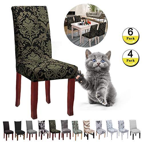 JunYito Stuhlhussen 4er 6er Elastische Set Stuhlhussen Universal Stretchhusse Stuhlbezug Stretch für Stuhl Esszimmer (D-Schwarzes Barockmuster, 6 Stücke)