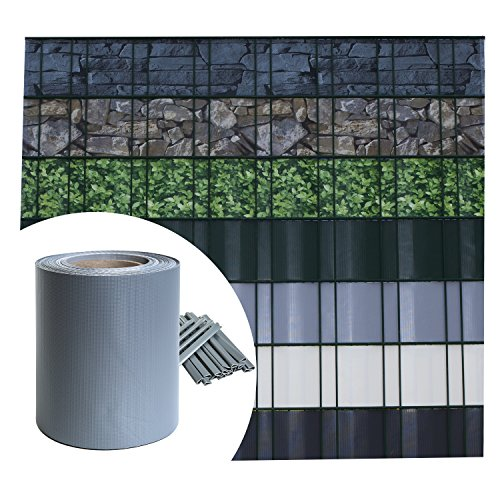 Sichtschutz PVC - Grau RAL 7040 - 35m (7m²) - Doppelstabmatten Zaunfolie Windschutz blickdicht Windschutz