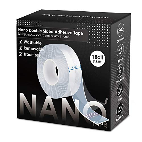 2021 Upgraded Premium Nano Double Sided Tape Heavy Duty,Multipurpose Transparent Poster Tape, Adhesive Strips Strong Sticky Mounting Tape Wall Tape Picture Hanging Strips Gel Tape (9.84FT x 1Roll)