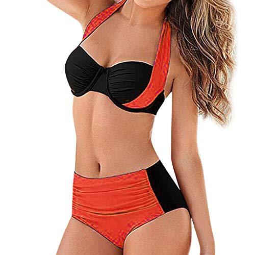MOMOXI Traje de baño Caliente de Las Mujeres, Bikini con Cintura Alta Acolchado y Push-up con Traje de baño Traje de baño Traje de baño