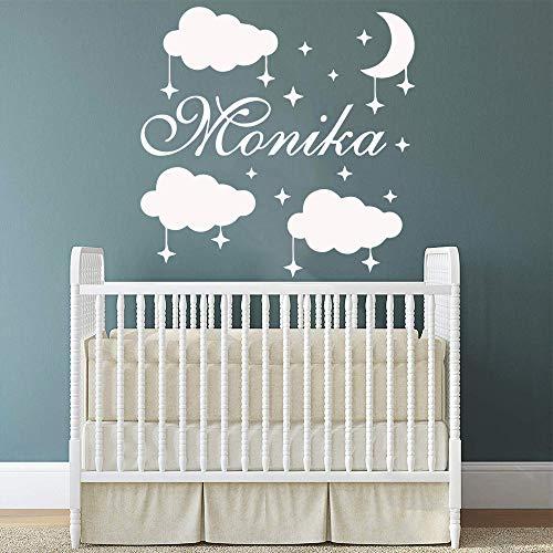 LSMYE Personalisierte benutzerdefinierte Namen Sterne Wolken Vinyl Wandaufkleber Abziehbilder für Kinder Zimmer Aufkleber Dekor Schlafzimmer Soft Pink M 28cm X 28cm
