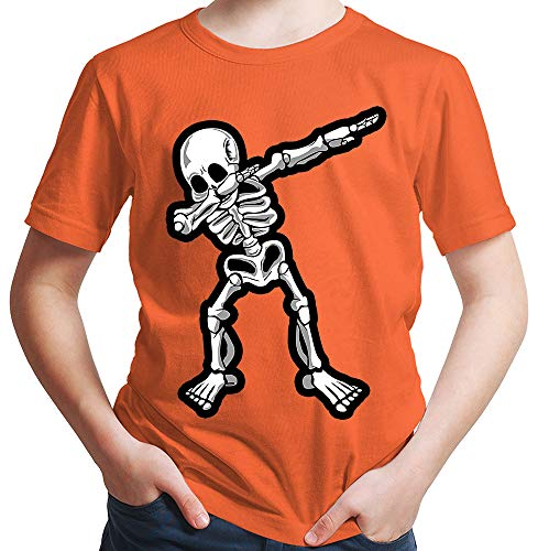 HARIZ Jungen T-Shirt Dab Skelett Dab Teenager Trend Halloween Plus Geschenkkarten Orange 140/9-11 Jahre