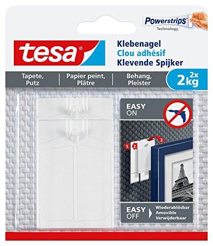 tesa Klebenagel für Tapeten & Putz / Selbstklebende Nägel für empfindliche Oberflächen / Leicht anzubringen & zu entfernen - rückstandslos / 2 x 2kg Halteleistung