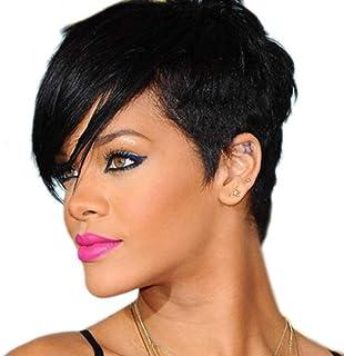 かつら髪ファッション耐熱性合成女性のショートストレート黒髪は本物の髪