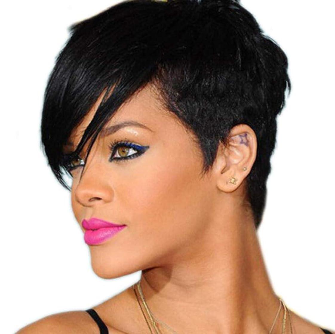 愚か分析する永久かつら髪ファッション耐熱性合成女性のショートストレート黒髪は本物の髪