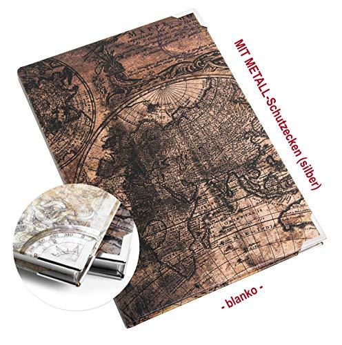 Logbuch-Verlag notitieboekje DIN A5 vintage blanco boeken wereldkaart lichtbruin donkerbruin mit Metallecken donkerbruin