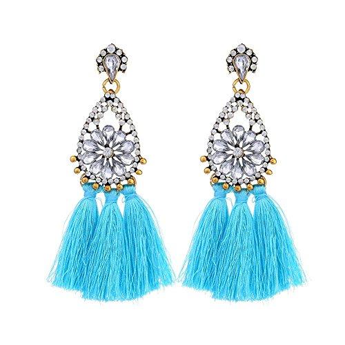 Jewelry Women Jewelry Retro Ethnic Wind Charm Sky Blue Tassel Rhinestone Flower Long Drop Dangle Earring Gift,Colour Name:Sky Blue (Color : Sky Blue)