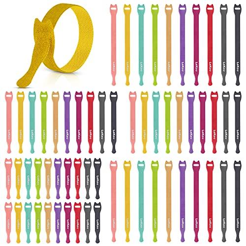 LeKou 10 colores Bridas Reutilizables, 60 Piezas Cable Tie Organizador Cables Corbatas Cables - Corbata de Cable Ajustable y Extraíble - Organizan y Gestionan el Cable Home Office - 3 tamaños