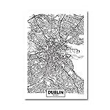 shiyusheng Dublin City Map Poster Irland Street City Road