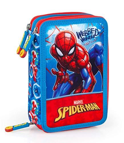 Marvel Spiderman Federmappe 3-fach gefüllt Jungen Federmäppchen Federtasche Spider-Man