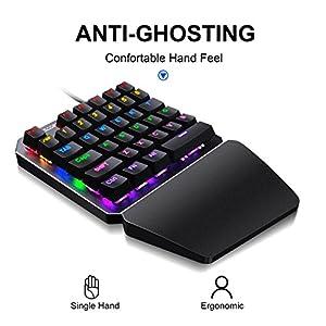 (Black Switch) One-Handed RGB Mechanical Gaming Keyboard SADES Half Keyboard Gaming Keypad Small Gaming Keyboard for PUBG/Fps Games/LOL/APEX/CSGO/Rainbow Six