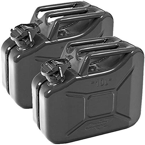 Oxid7 2X Benzinkanister Kraftstoffkanister Metall 10 Liter schwarz mit UN-Zulassung - TÜV Rheinland Zertifiziert - Bauart geprüft - für Benzin und Diesel