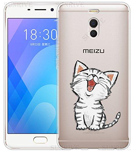 Sunrive Cover per Meizu M6 Note 5,5 Pollici, Custodia Case in Molle Trasparente TPU Silicone Morbida Flessibile Pelle AntiGraffio Protettiva(TPU Gatto 2)