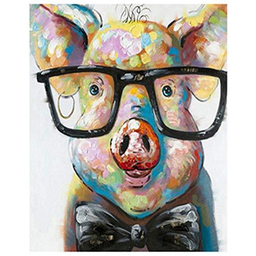 Kit de pintura de diamante 5D DIY cerdo animal con gafas taladro completo Rhinestone cristal bordado cuadros punto de cruz arte arte para decoración del hogar