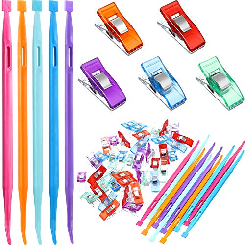 50 Pieces Sewing Notions Supplies Including 10 Pieces Thang Sewing Thread Rubber Band Tools and 40 Pieces Quilting Fabric Clips for Sewing Craft Projects