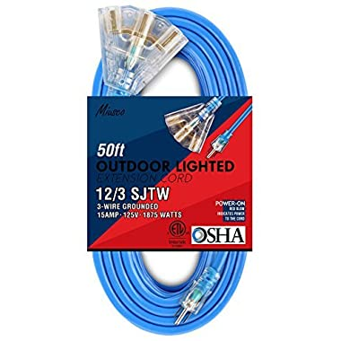 Miusco 50 ft 12 Gauge Heavy Duty Outdoor Extension Cord, 3 Prong, 12/3 SJTW, Triple Outlets, Lighted Plug, Fluorescent Blue