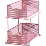Simple Houseware 2 Tier Sliding Cabinet Basket Organizer Drawer, Pink