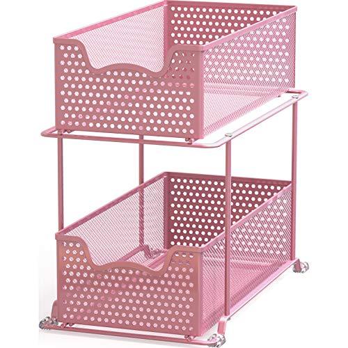 Simple Houseware 2 Tier Sliding Cabinet Basket Organizer Drawer Pink