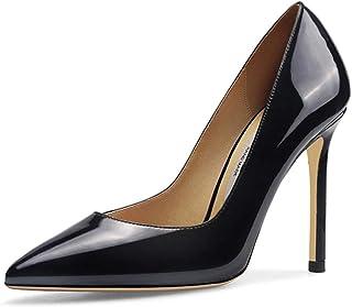 黒のパテントレザーの宴会のスティレットヒールのセクシーな裸の明るい色の口尖ったつま先のドレスハイヒールのサンダルの靴、3高さ (色 : Black 8.5cm, サイズ さいず : 39)