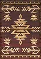 """ユナイテッドウィーバーズ・オブ・アメリカ(United Weavers of America) 玄関マット レッド 57×90㎝ 耐燃製に優れた繊維""""オレフィン""""使用 ・ネイティブデザイン UW00130S"""