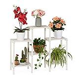 relaxdays Etagère bois, Espace de rangement pour plantes, Escalier à fleurs décoratif d'intérieur, blanc, 70 x 89 x 26,5 cm