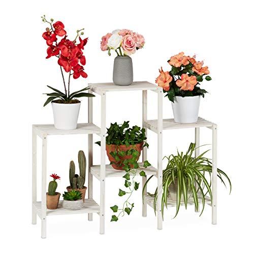 Relaxdays Blumenregal Holz, 6 Ablagen für Pflanzen, dekorative Blumentreppe für Indoor, stehend, 70 x 89 x 26,5 cm, weiß