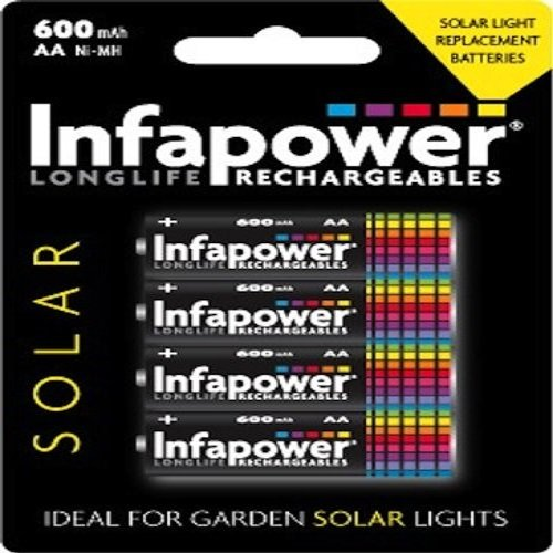 Infapower AA 600mAh Solar with 4 Rechargeable Batteries