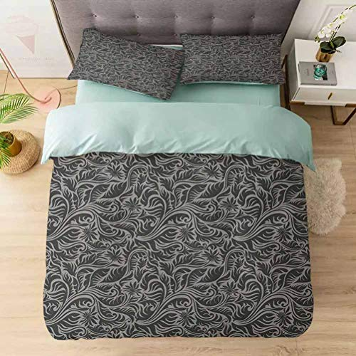 Duvet Cover Sets, Pattern with Fern Leaves and Big Flowers Abstract Scroll Garden Art, Comforter Cover Bedding Set 3 Pieces (1 Duvet Cover + 2 Pillow Shams), Black Grey