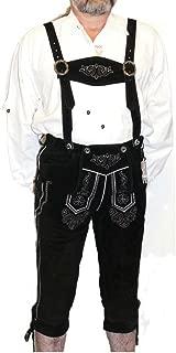 2-Piece Leather German Oktoberfest Lederhosen Shorts Pants Black