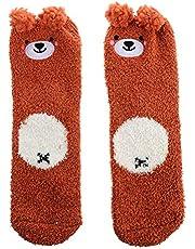 SOIMISS Calcetines Borrosos para Mujer Súper Suave Oso Lindo Antideslizante Calcetines de Hogar Suaves Y Esponjosos para Dormir en Interiores Uso Casual Beige