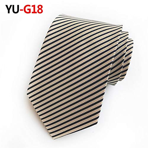 Corbata de Hombre Hombre 8 cm Moda Azul Vino marrón Corbata púrpura Corbata a Rayas Amarillo Corbata Rojo Boda Boda Pajarita Traje Formal de los Hombres Moda (Color : YU G18)