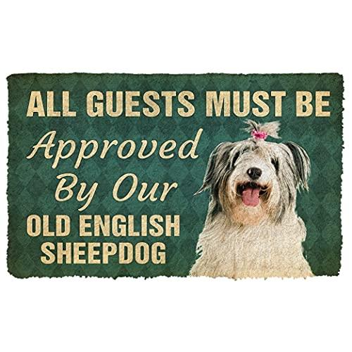 TIANTUR Deve ser aprovado por nosso velho cão pastor inglês Pinscher capacho personalizado presente de boas-vindas, tapete personalizado, decoração de quarto de casa, 40,64 x 60,96 cm