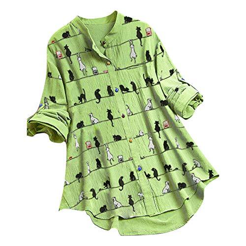 Women's Cute Fashion Sweatshirts Cat Print Casual Long Sleeve Tunics Elegant Comfort Buttons Pullover Tops Blouse Green