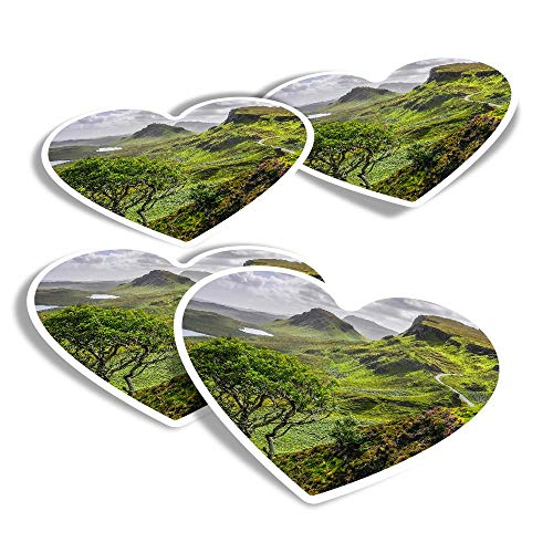 Vinyl Heart Stickers (Set of 4) - Quiraing Mountains Isle of Skye Scotland Fun Decals for Laptops,Tablets,Luggage,Scrap Booking,Fridges #16377