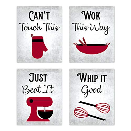 """80s Music Songs Retro Vintage Inspirational Kitchen Wall Art Dining Room Cafe and Restaurant Decor Red Black Gray and White Baking Prints Posters Signs Sets Retro Home Decorations Funny Sayings Quotes Unframed (Set of 4) 8""""x10"""""""