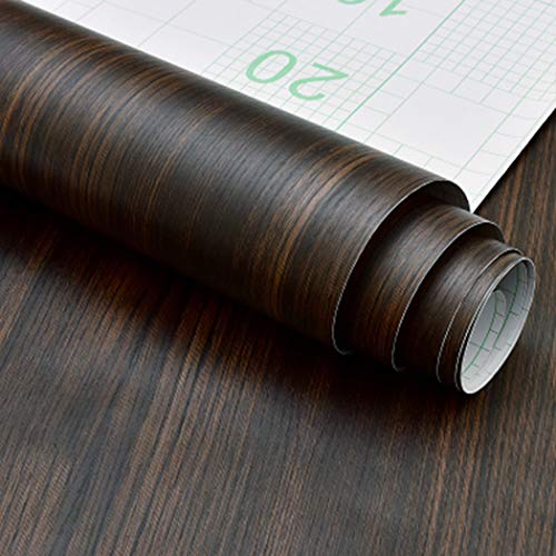 Papel de contacto de madera de nogal oscuro rústico autoadhesivo para estantes de cocina, encimera, mesa de escritorio, decoración de muebles (40 x 500 cm)