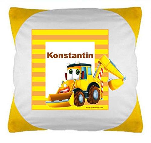 """TTS Kissen bunt """"Bagger"""" mit Wunschbeschriftung (gelb)"""