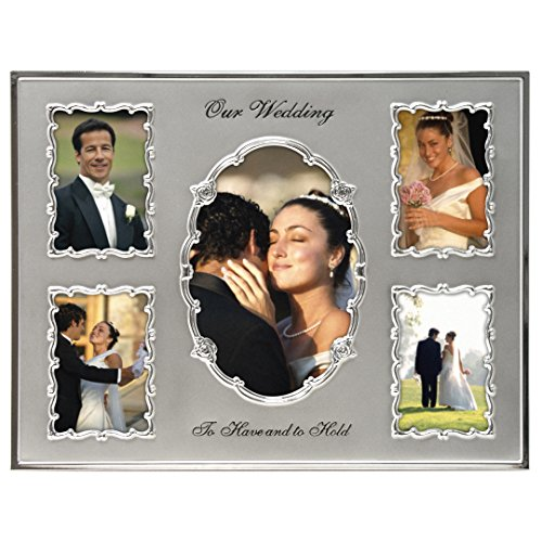 Malden International Designs Our Wedding Two Tone Collage Picture Frame  5 Option  1-4x6 & 4-3.5x5  Silver
