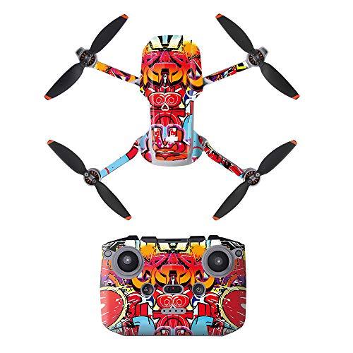LHY Linghuang PVC Adesivo Decorativo Telecomando Decals Set per DJI Mavic Mini 2 Drone Impermeabile DIY Accessori Protezione AntiGraffio (Tipo 4)