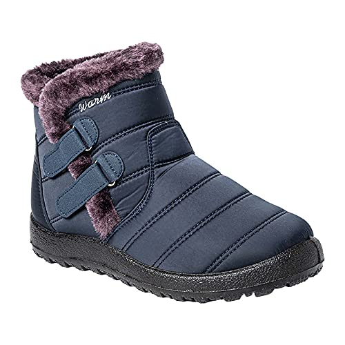 Botas de nieve para mujer, puntera redonda, para mantener calientes los zapatos de tobillo, con gancho y bucle de terciopelo, botines planos de invierno, cómodos, informales, para...