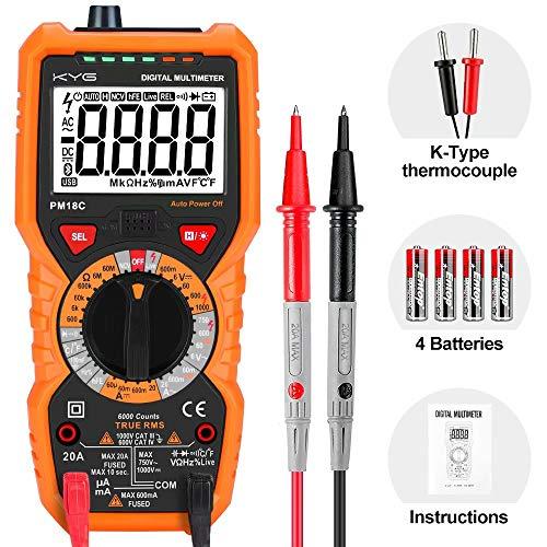 Digital Multimeter Durchgangsprüfer Multimeter mit 6000 Counts True RMS digitales Haushaltsmessgerät Temperaturmessung Außenleiter-Identifizierung Durchgangsprüfung Hintergrundbeleuchtung